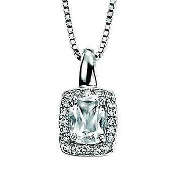 9 CT White Gold White Topaz And Diamond Necklace