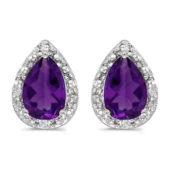 10k White Gold Pear Amethyst And Diamond Earrings