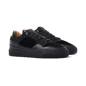 Android Homme Omega Low Black Quilted Velvet Trainers