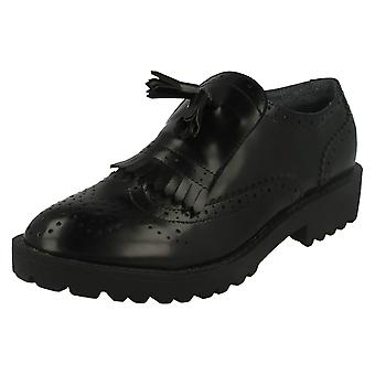 Spot On Ladies Brogue Patterned Slip On Shoe With Fringe Detail F9819