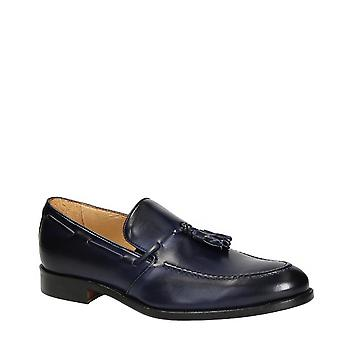 Handmade men's loafers with tassels in blue leather