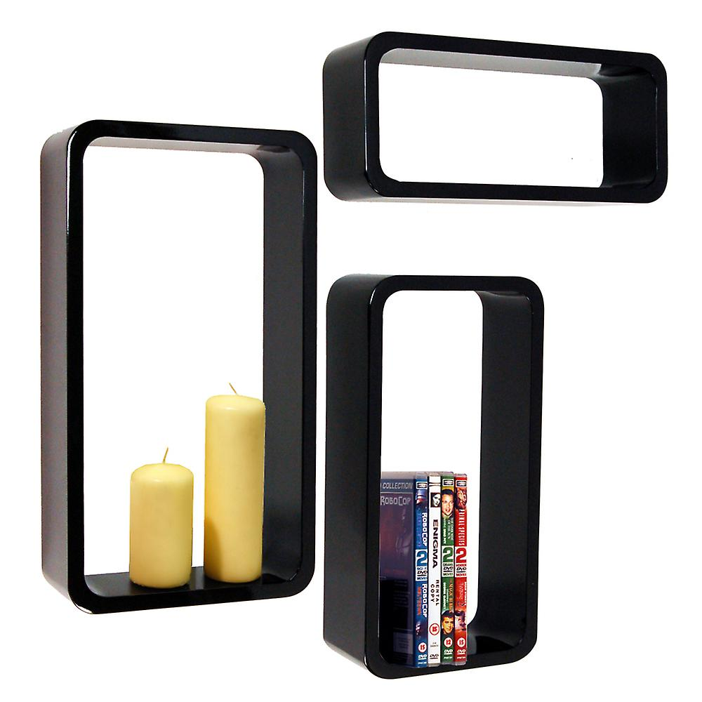 Charlton - Retro Wall Mounted Floating Storage / Display Shelves - Set Of 3 - Black