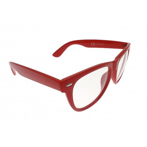 W.A.T Retro Red Framed Clear Glass Geek Glasses
