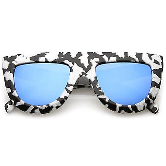 Toda impresión mármol mate grueso tamaño brazos plano planos gafas de sol de lente 51mm