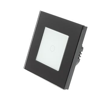 I LumoS Black Glass Frame 1 Gang 2 Way Touch LED Light Switch White Insert