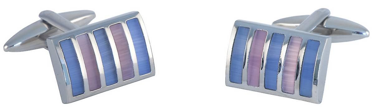 David Van Hagen Rectangle Striped Cats Eye Cufflinks - Silver/Blue/Pink