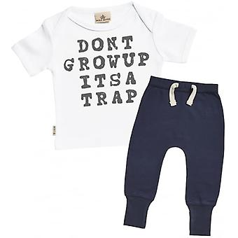 Spoilt Rotten Don't Grow Up It's A Trap Baby T-Shirt & Navy Joggers Outfit Set