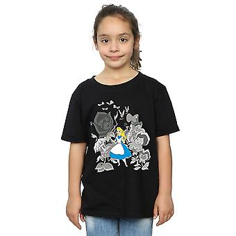 Disney Girls Alice In Wonderland Flowers T-Shirt
