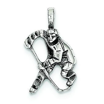 Sterling Silver Solid Open back Antiqued Hockey Player Charm - 2.2 Grams