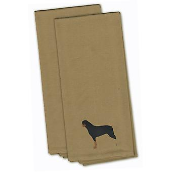 Rottweiler Tan Embroidered Kitchen Towel Set of 2