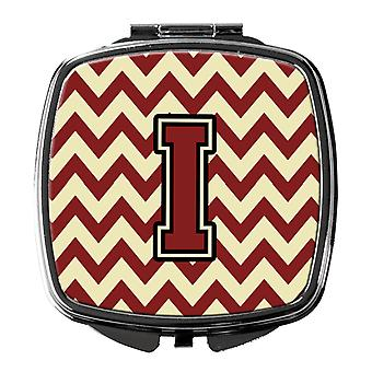 Carolines Treasures  CJ1061-ISCM Letter I Chevron Maroon and Gold Compact Mirror