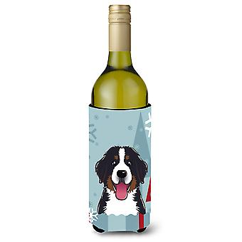 Winter Holiday Bernese Mountain Dog Wine Bottle Beverage Insulator Hugger