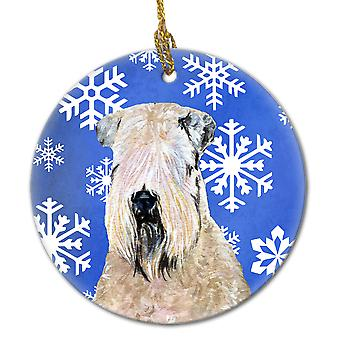 Wheaten Terrier Soft Coated  Snowflakes Holiday Christmas Ceramic Ornament