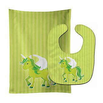 Carolines Treasures  BB9088STBU Unicorn Green Stripes Baby Bib & Burp Cloth