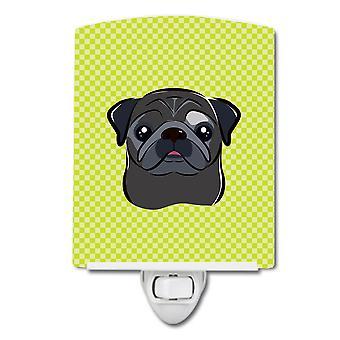 Damier chaux Pug noir vert veilleuse céramique