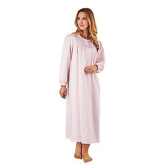 Slenderella ND8236 Frauen PinkSatin Nacht Kleid Langarm Nachthemd