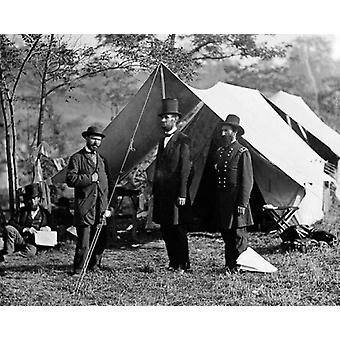 President Abraham Lincoln with Allan Pinkerton and Major General John A McClernand Antietam MD 1862 Poster Print by McMahan Photo Archive (10 x 8)