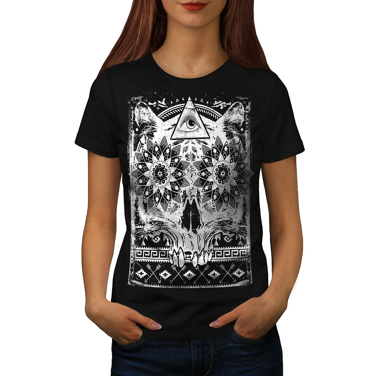 Illuminati Psycho Skull Women Black T-shirt | Wellcoda