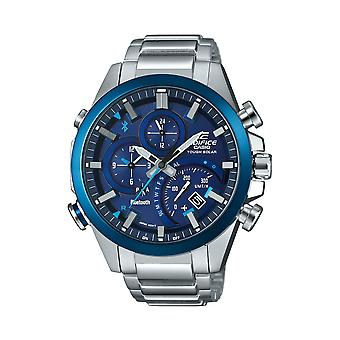 Casio Watches Eqb-501db-2aer Edifice Bluetooth Blue And Silver Stainless Steel Tough Solar Watch