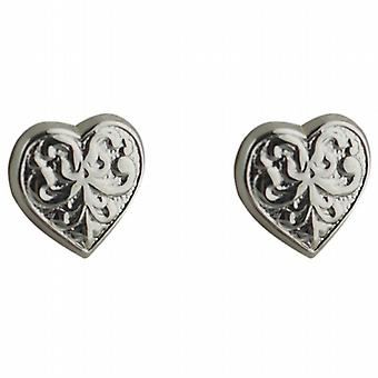 Zilveren 10x10mm gedessineerde hartvormige stud Earrings