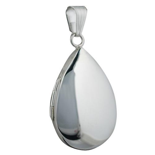 Silver 30x20mm plain teardrop Locket