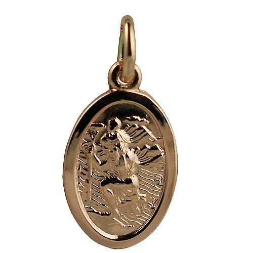 9ct or rose 17x11mm ovale St Christopher Pendentif