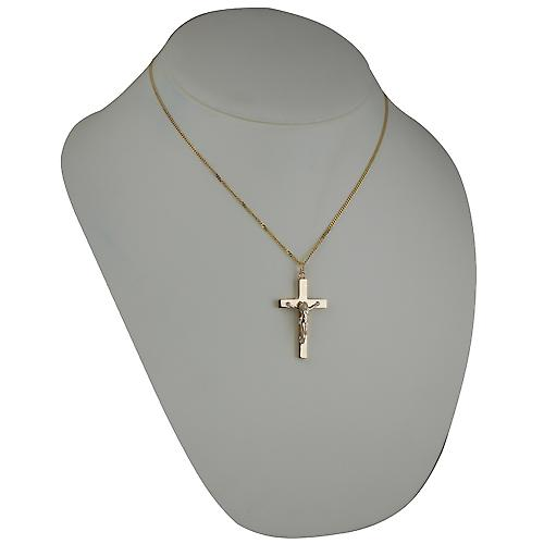 9ct yellow gold 40x25mm Solid Block Crucifix with a strong bright cut curb chain