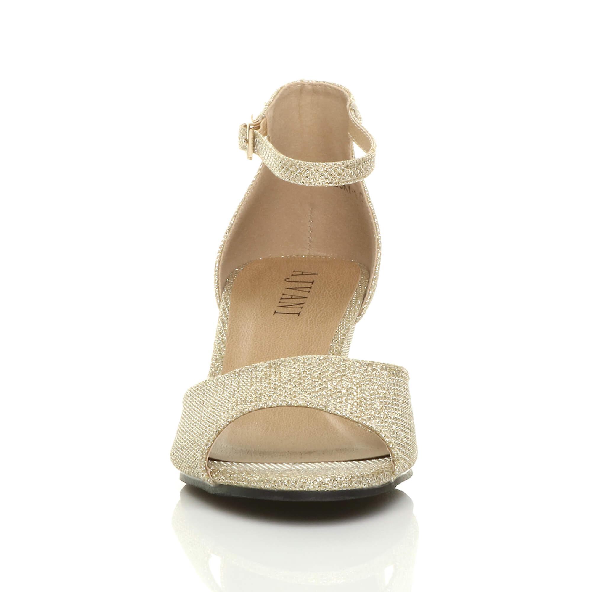 peep strap smart womens casual evening heel mid Ajvani wedge ankle low sandals toe XBqRwwAn