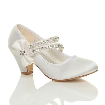 Ajvani girls low heel party wedding mary jane style hook & loop sandals school shoes