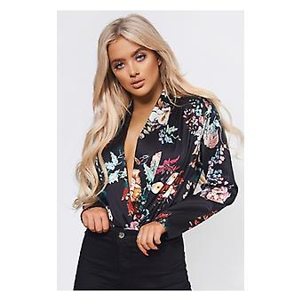 The Fashion Bible Kiki Black Satin Floral Bodysuit