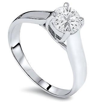 3/4ct Solitaire Diamond IGI Certified Engagement Ring 14K White Gold