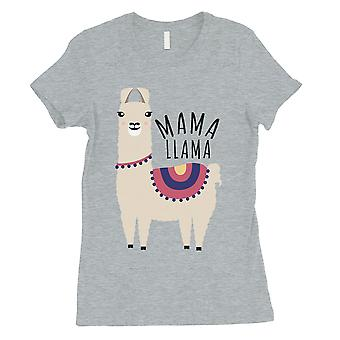 Mama Llama Womens Grey Graphic Cotton Shirt For Mothers Day Gifts