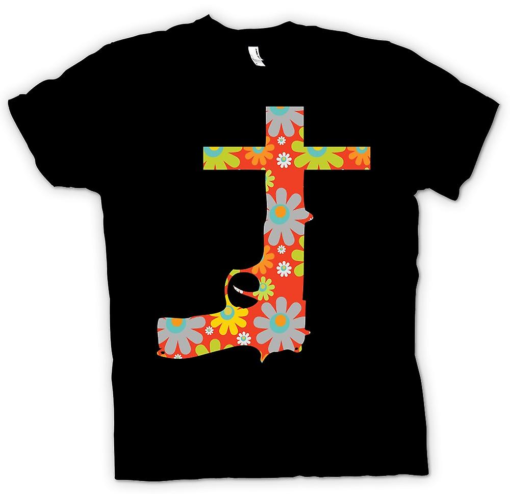 Mens T-shirt - Gun and Crucifix - Peace