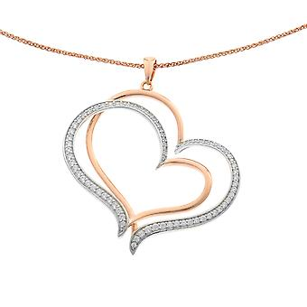 Orphelia Silver 925 Chain With Pendant Double Heart 925 Roseplated Silver Zirconium  ZH-6080