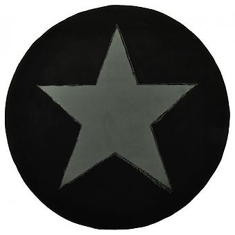 Design tapis de velours star rond noir 140 cm | 102052