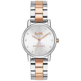 Dos de gran entrenador femenino tono oro rosa y plata reloj de pulsera 14503005