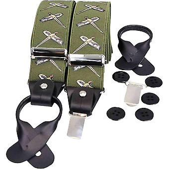 David Van Hagen Country Luxury Flying Phesant Braces - Green