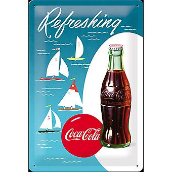 Coca Cola Sailing Boats Embossed Steel Sign (300Mm X 200Mm)