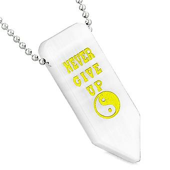 Never Give Up omkeerbare Amulet Yin Yang pijlpunt witte gesimuleerde Cats Eye hanger ketting