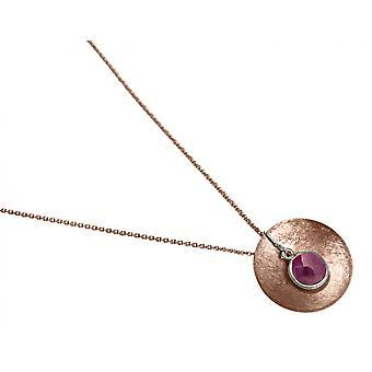 Gemshine - Damen - Halskette - Anhänger - 925 Silber - Rose Vergoldet - Schale -  Geometrisch - Design - Rubin - Rot - 45 cm