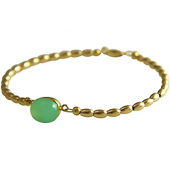 Damen - Armband - Vergoldet - Chalcedon - Meeresgrün - 18 cm