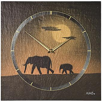 AMS 9523 wall clock quartz of slate natural slate slate clock golden elephant