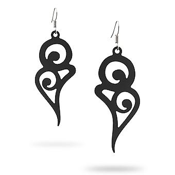 Dangling earrings long curves silicone black