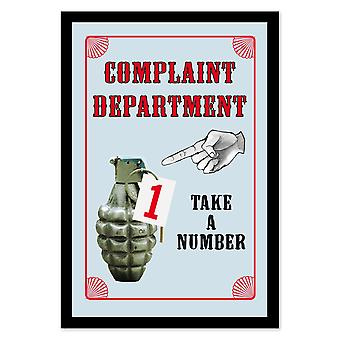 Complaint Department wall mirror with black plastic framing wood.