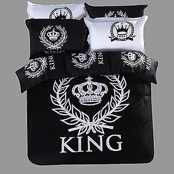 800 tc-100% 綿寝具セット ロイヤル プリント ブラック ・ ホワイト シリーズ