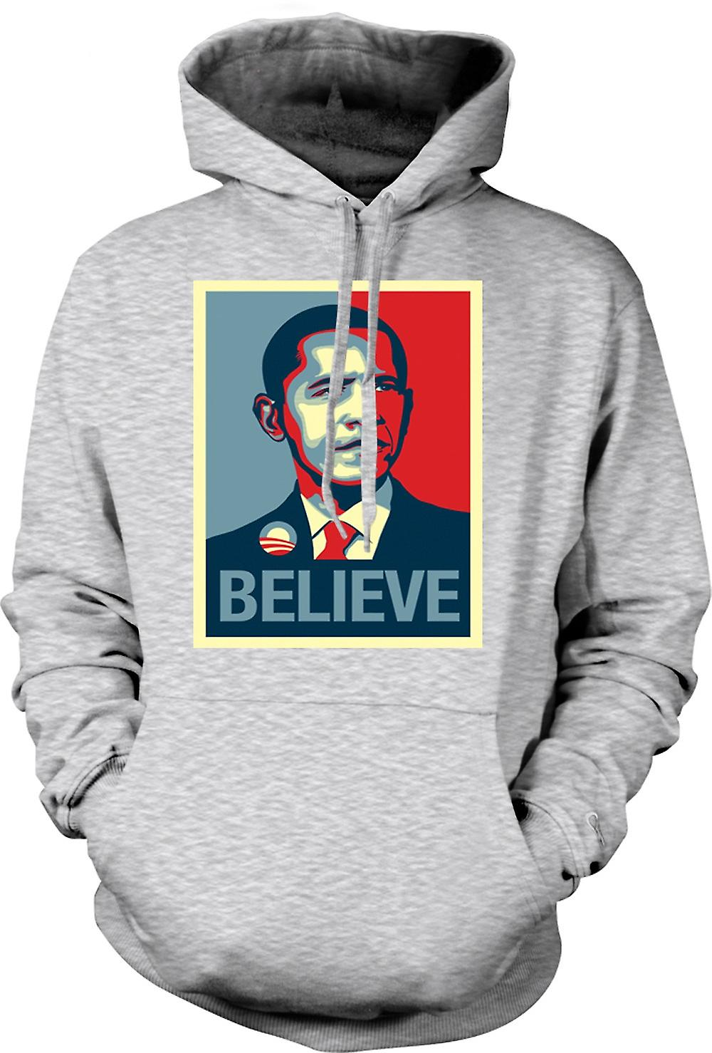 Mens Hoodie - Obama Believe Change