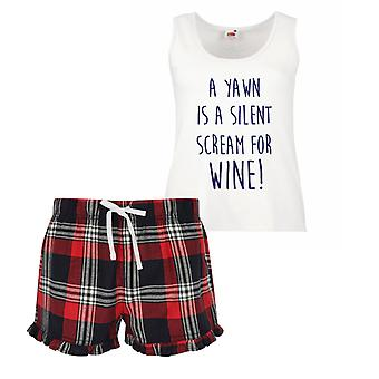 A Yawn Is A Silent Scream For Wine Ladies Tartan Frill Short Pyjama Set Red Blue or Green Blue