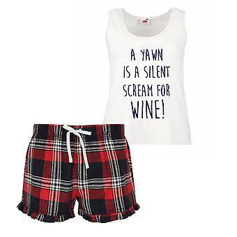 التثاؤب صرخة صامتة للسيدات النبيذ الترتان فريل بيجاما قصيرة تعيين الأزرق أحمر أو أخضر أزرق