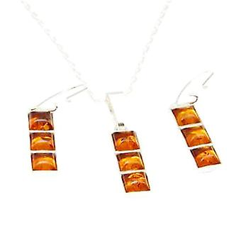 Amber Pendant & Earring Set In 925 Silver  By TOC