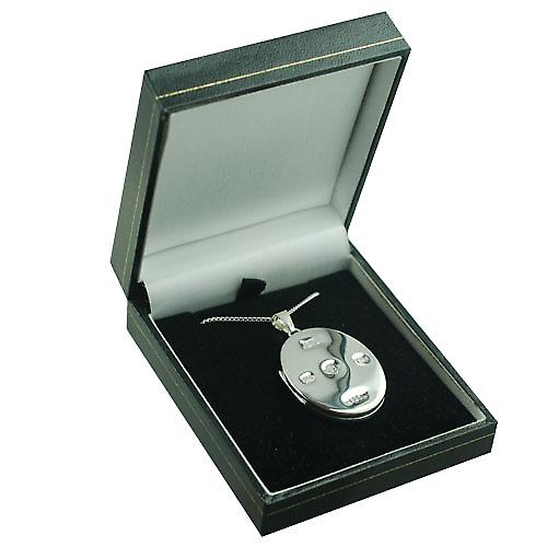 Silver 35x26mm plain display Hallmarked flat oval Locket with a curb Chain 20 inches